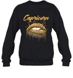 Capricorn Zodiac Birthday Golden Lips For Black Women Birthday Crewneck Sweatshirt