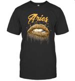 Aries Zodiac Birthday Golden Lips For Black Women T-shirt