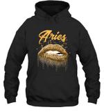 Aries Zodiac Birthday Golden Lips For Black Women Hoodie Sweatshirt