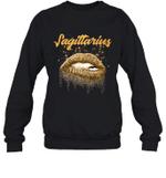Sagittarius Zodiac Birthday Golden Lips For Black Women Crewneck Sweatshirt