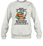 A Girl Who Love Books And Was Born In January Birthday Crewneck Sweatshirt