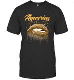 Aquarius Zodiac Birthday Golden Lips For Black Women T-shirt