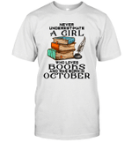 A Girl Who Love Books And Was Born In October Birthday T-shirt