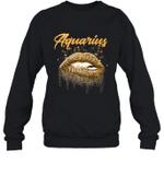 Aquarius Zodiac Birthday Golden Lips For Black Women Crewneck Sweatshirt