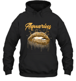 Aquarius Zodiac Birthday Golden Lips For Black Women Hoodie Sweatshirt