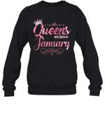 Queens Are Born In January Birthday Crewneck Sweatshirt