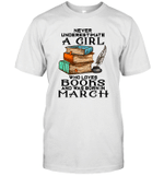 A Girl Who Love Books And Was Born In March Birthday T-shirt