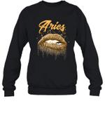 Aries Zodiac Birthday Golden Lips For Black Women Crewneck Sweatshirt