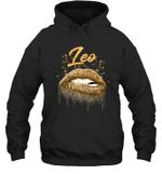 Leo Zodiac Birthday Golden Lips For Black Women Hoodie Sweatshirt
