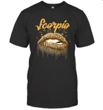 Scorpio Zodiac Birthday Golden Lips For Black Women T-shirt