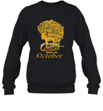 Black Queens Are Born In October Birthday Gift Crewneck Sweatshirt