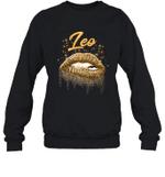 Leo Zodiac Birthday Golden Lips For Black Women Crewneck Sweatshirt