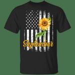 Sunflower American September Girl T-shirt Patriot Birthday Tee