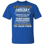 Legends T-shirt Birthday Are Born In January Tee