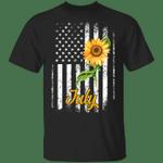 Sunflower American July Girl T-shirt Patriot Birthday Tee
