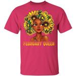 Sunflower Afro Hair February Queen T-shirt Birthday Tee