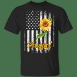 Sunflower American August Girl T-shirt Patriot Birthday Tee