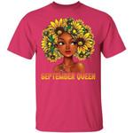 Sunflower Afro Hair September Queen T-shirt Birthday Tee