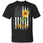 Sunflower American March Girl T-shirt Patriot Birthday Tee