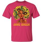 Sunflower Afro Hair June Queen T-shirt Birthday Tee