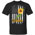 Sunflower American October Girl T-shirt Patriot Birthday Tee