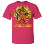 Sunflower Afro Hair April Queen T-shirt Birthday Tee