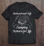 Husband And Wife Camping Partners For Life Hand Heart Version Wife T Shirt