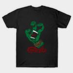 Screaming Mutant Hand T-Shirt Cartoon Cowabunga! logo Parody Santa Cruz Skateboards Teenage Mutant Ninja Turtles TMNT TV T Shirt