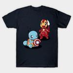 Monster War T-Shirt Anime Captain America Charmander Iron Man Marvel Comics Mashup Nintendo Pokemon Squirtle Steve Rogers Superhero Tony Stark Video