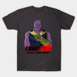 I want Gems T-Shirt Marvel Comics Mashup Parody Supervillain Thanos Uncle Sam T Shirt