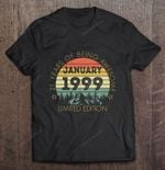 21 Years Of Being Awesome January 1999 Limited Edition Vintage Version 21 Years Old 21st Birthday being awesome January 1999 Vintage 1999 T Shirt