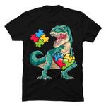 Dinosaur Puzzle Piece T shirt Autism Awareness Boys Kids Men T-Shirt Autism gmc_created T Shirt