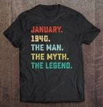 January 1940 The Man The Myth The Legend Vintage Version 80 Years Old 80th Birthday January 1940 T Shirt