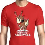 Merry Kiss My Deer Graphic Arts T Shirt