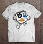 Oakland Raiders Los Angeles Lakers And Los Angeles Dodgers Heartbeat Football T Shirt