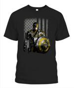 Superhero Captain American flag Rams NFL Los Angeles Rams T Shirt