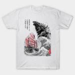 King of the Monsters T-Shirt Godzilla Hokusai Japanese kaiju monster movie Parody The Great Wave off Kanagawa Ukiyo-e T Shirt