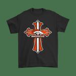 American Football Orange Crusader Cross Denver Broncos NFL Shirts Crusader Cross Denver Broncos football NFL T Shirt