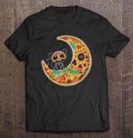 Cat And Moon Sugar Skull Dia de Los Muertos Cat T Shirt