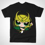 THE ASGARDIAN GIRL T-Shirt Cartoon Loki Marvel Comics Mashup Parody Supervillain The Powerpuff Girls TV T Shirt
