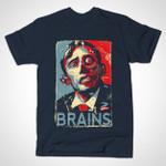 ZOMBAMA: BRAINS T-Shirt Barack Obama Parody Shepard Fairey Zombie T Shirt