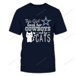 This Girl Loves Her Cowboys and Her Cats NFL Dallas Cowboys 2 T Shirt