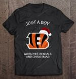 Just A Boy Who Loves Bengals And Christmas Football T Shirt