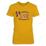 LSU Tigers - Football Bow Patterned Letter - Gold Shirt LSU Tigers T Shirt