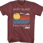 Amity Island New England JAWS T-Shirt 80s Movie T Shirt