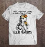 She Is A Sunflower Strong And Bold And True To Herself She Is Sunshine Mixed With A Little Hurricane Sally Halloween NIGHT BEFORE CHRISTMAS T Shirt
