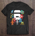 6 Year Old Birthday Robots Birthday T Shirt