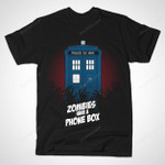 ZOMBIES HAVE A PHONE BOX T-Shirt Doctor Who TARDIS TV Zombie T Shirt
