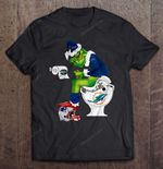 Buffalo Bills Grinch Sitting On Miami Dolphins Toilet And Step On New England Patriots Helmet Football T Shirt