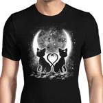 Moon Cats Graphic Arts T Shirt